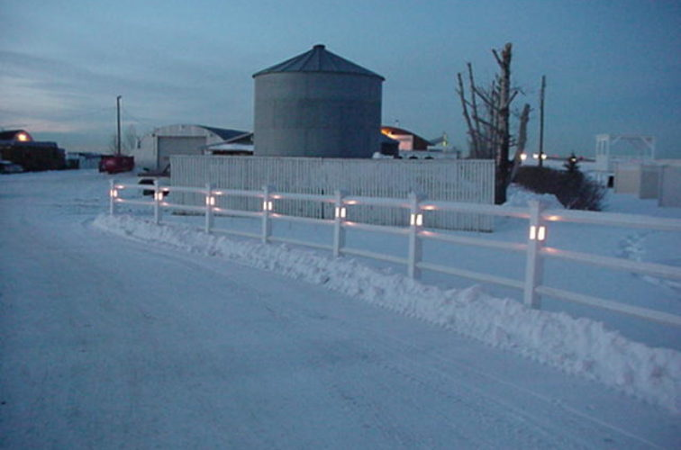 AFC Cedar Rapids - Vinyl Fencing, 2 Ranch Rail with lighted posts (950)