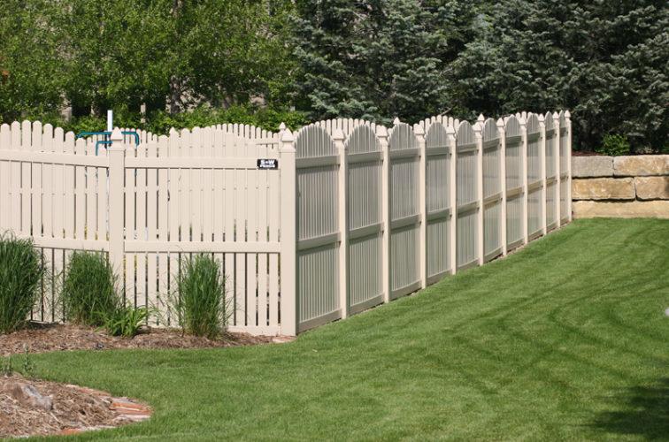 AFC Cedar Rapids - Vinyl Fencing, 6' overscallop picket tan 554
