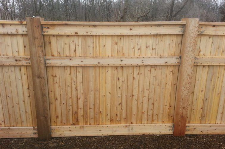 AFC Cedar Rapids - Wood Fencing, 6' Custom Wood With Stone Columns - AFC- IA