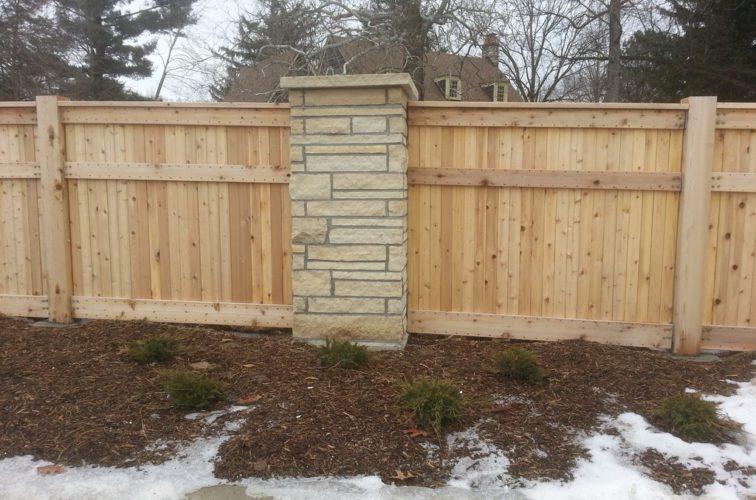 AFC Cedar Rapids - Wood Fencing, 6' Custom Wood with Stone Columns - AFC - IA