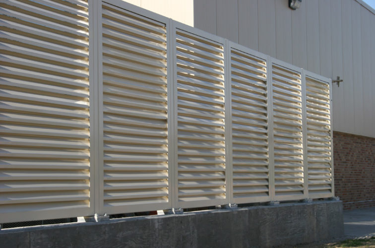 AFC Cedar Rapids - Louvered Fence Systems Fencing, Louvered Fence Panel System In Tan