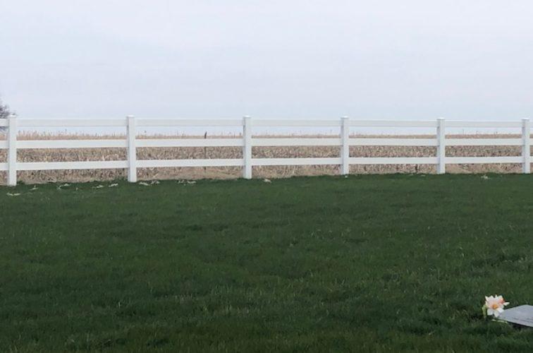 Three rail split rail fence - white vinyl