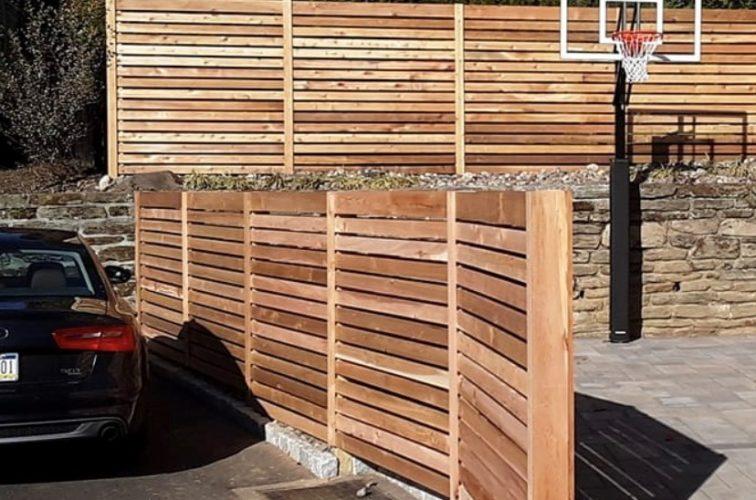 Custom horizontal picket wood fence
